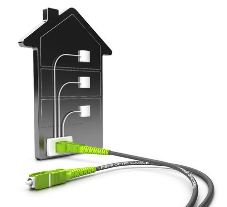 Ilustración 3D de una red FTTB para el acceso de banda ancha de alta sobre fondo blanco, el concepto de fibra de buiding. Foto de archivo - 56776156