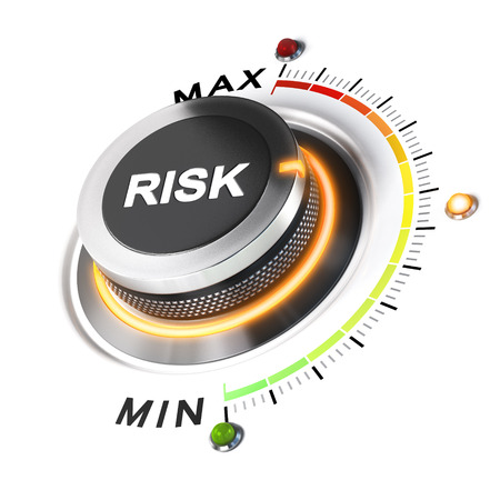 Risk level knob positioned on medium position, white background and orange light. 3D illustration concept for business security management.