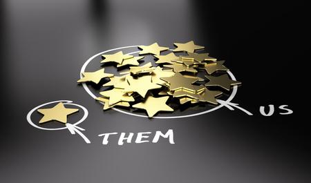 3D illustration des étoiles d'or sur fond noir pour être utilisé pour la comparaison entre votre entreprise et nos concurrents.