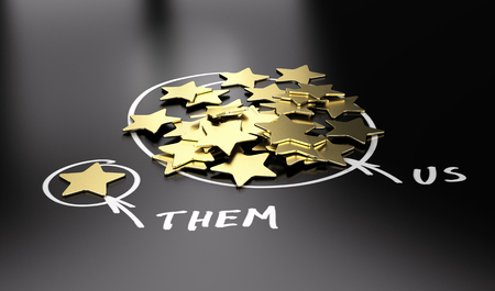 dominance: 3D illustration of golden stars over black background to be used for comparison between your company and our competitors.