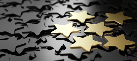 Six golden stars over black background. 3D illustration of high quality customer service Фото со стока