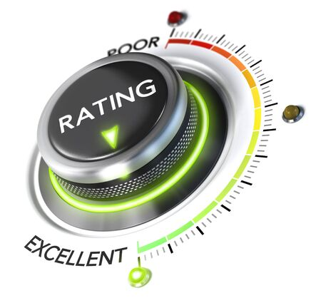satisfied customer: 3D illustration of rating button pointing to the highest level, white background and green light. Concept of excellent customer experience.