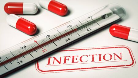 sick malady: 3D illustration of a thermometer and pill with the word infection. Concept of disease.