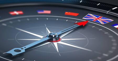travel destination: 3D illustration of a compass with many flags, the needle points the British flag, black background. Conceptual image of travel destination Stock Photo