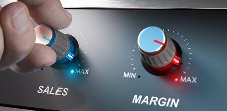 margin: Rentable concepto de negocio, ventas y mejora de m�rgenes. De composici�n entre un lado y el fondo 3d.