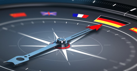discovering: 3D illustration of a compass with the needle pointing the german flag. Concept of germany excursion or tour.
