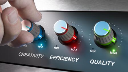 Handdrehknöpfe, wo es geschrieben steht, die Worte Kreativität, Qualität und Effizienz. Konzept für die Kommunikation auf Unternehmenswerte. Composite-Bild zwischen einer Fotografie und einem 3D-Hintergrund. Standard-Bild