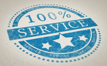 3d Illustration of a rubber stamp with the text 100 percent over paper background service. Concept of customer service