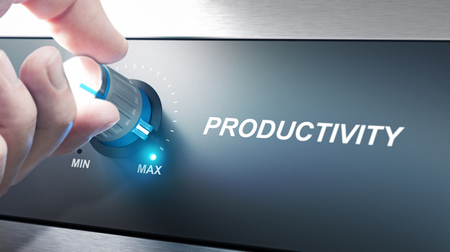 capacities: Hand turning a productivity knob. Concept for productivity management. Composite image between an photography and a 3D background.