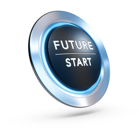 3D illustration d'un bouton-poussoir où il est écrit avenir commence avec la lumière bleue sur fond blanc. image Concept pour illustrer le changement de vie ou d'une vision stratégique. Banque d'images