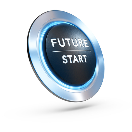 3D illustration of a pushbutton where it is written future start with blue light over white background. Concept image for illustration of life change or strategic vision.