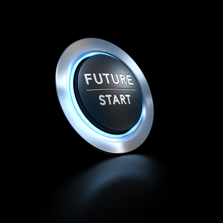 3D illustration of a pushbutton where it is written future start with blue light over black background.