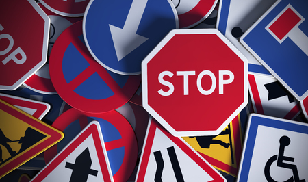 rules of the road: Front view of numerous french traffic road signs. Concept image for background Stock Photo