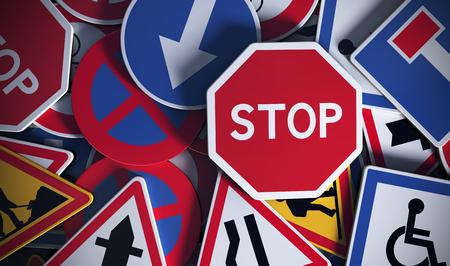 manejando: Vista frontal de numerosas señales de tráfico tráfico fritas. Concepto de imagen para el fondo