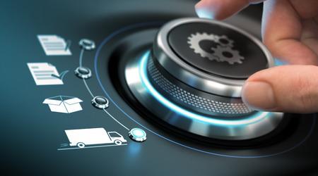 A mano girando una manopola di processo con i simboli ingranaggi. Concetto di e-commerce. Immagine composita tra una fotografia e uno sfondo 3D.