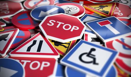 perspetive vista de las numerosas señales de tráfico tráfico fritas. Concepto de imagen para el fondo, ilustración 3D Foto de archivo