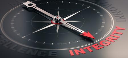 integridad: Ilustración 3D de una brújula sobre fondo negro con la aguja hacia la palabra integridad. Imagen del concepto de los valores centrales de la compañía