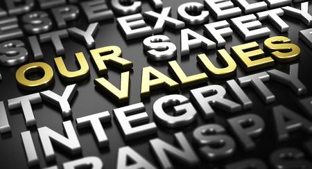 Ilustración 3D sobre fondo negro. Nuestros valores de texto escritos con letras de oro con otras palabras como la integridad o la seguridad escrito con material de plata.