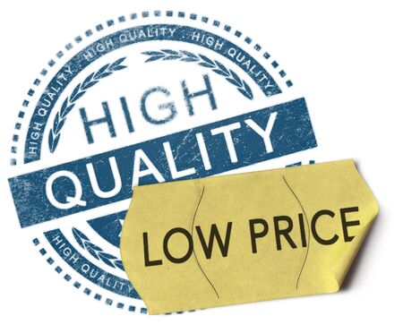 bargains: 3D illustration of a rubber stamp with the text high quality and a price sticker where it is written low price over white background. Advertising concept.