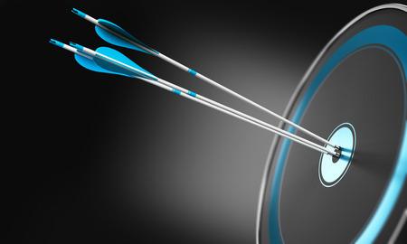 3D illustration de trois flèches en appuyant sur le centre d'une cible moderne avec effet de profondeur de champ.
