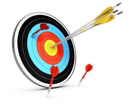 3D illustration of three arrows hitting the center of a target and three darts failled to reach the objective.