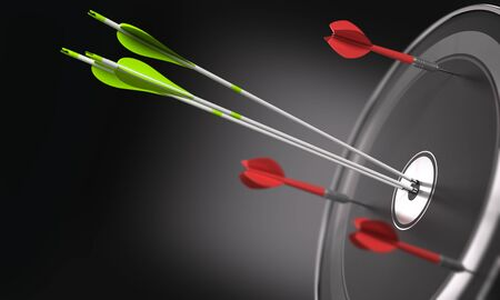 strategic position: Three green arrows hitting the center of a black target and 3 darts out of the objective. Business strategy or competitive advantage concept.