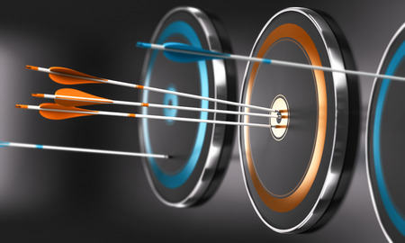 3D illustration of targets ans arrow with focus on three orange arrows in the center of one target