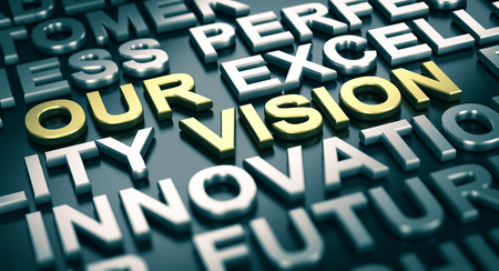 mandate: 3D illustration of a company vision statement with blur effect and many positive words surrounding the main text Stock Photo