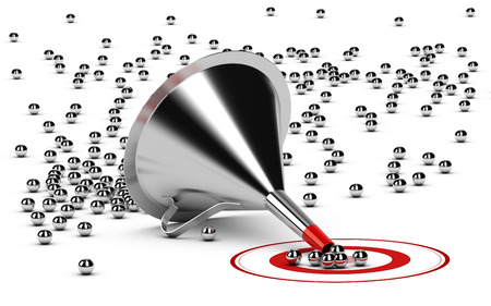 filtering: 3D illustration of a sales funnel over white background with metal spheres in the center of a red target. Stock Photo