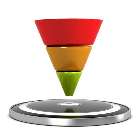 flujo: Representación gráfica de un embudo de conversión y de destino sobre el fondo blanco. ilustración 3D
