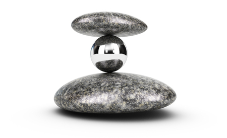surpass: 3D illustration of two pebbles and a metal sphere stacked over white background. concept of challenge and self control. Stock Photo