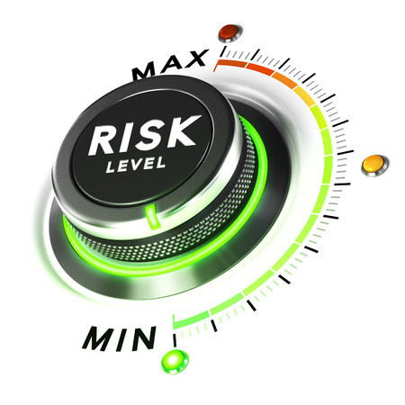risks: 3D illustration of a risk level knob over white background. Concept of investment strategy.