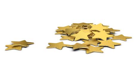 3D illustration of many golden stars over white background Stock Photo