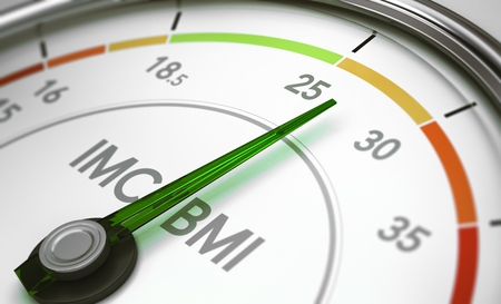 3D illustration of a BMI calculator dial with the needle pointine entre 25 and 30. Concept of body mass index measurement.