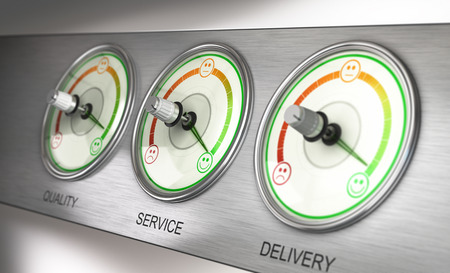 satisfaction: 3D illustration of a feedback device with three dials, quality, service and delivery with the needle pointing the highest level. Marketing concept. Stock Photo