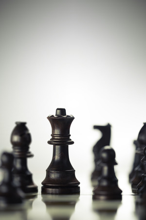 anticipate: Vertical image of a chess board with focus on the queen over bright background, Concept of risk management or strategic business.