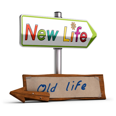life change: 3D illustration of two road signs, with the text new life and old life over white backround. Concept image to illustrate change decision or retirement. Stock Photo