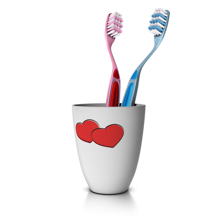 couple together: 3D illustration of a tooth cup with two toothbrushes over white background. Concept of love and couple living together.