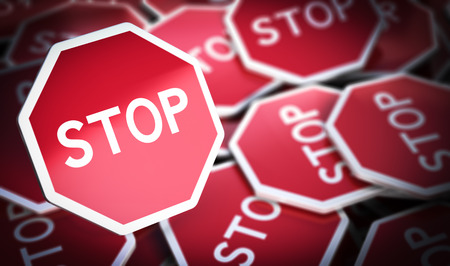 opposition: 3D illustration of many stop sign with blur effect, Concept of protest or opposition.