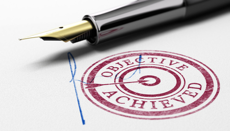 3D illustration of a rubber stamp where it is written objective achieved, fountain pen and sign over paper background. Concept of training certification or correction committee.