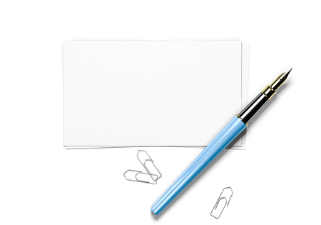 writer: 3D illustration of blank greeting cards, paperclips and fountain pen over white background, top view.