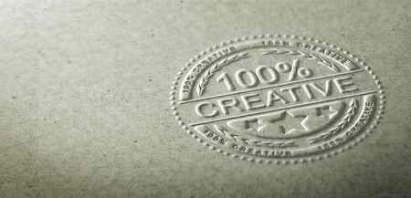 3D illustration of an embossed stamp with the text 100 percent creative. Background for communication on creativity and innovation in graphic design