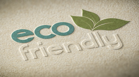 3D illustration of an eco friendly label embossed on a paper texture with blur effect. Concept of ecofriendly products or environmental preservation