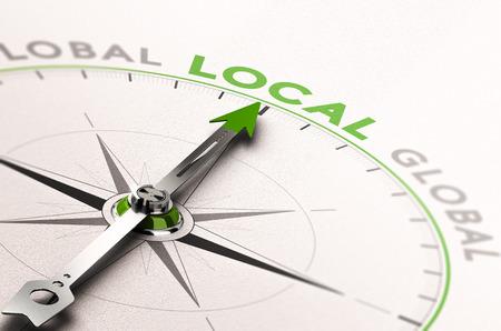 3D-afbeelding van een kompas met naald naar het woord lokale bedrijfsleven. Concept van een ethische economie