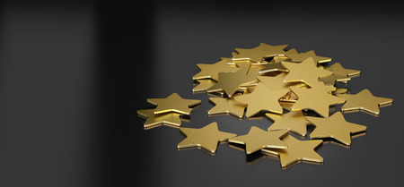 rating: 3D illustration of many golden stars over black background, horizontal image suitable for header