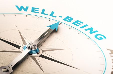Kompass mit Nadel zeigt das Wort Wohlbefinden. 3D-Darstellung mit Unschärfe-Effekt. Konzept des Wohlbefindens oder Wellness