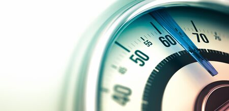 scale up: 3D illustration of a bathroom scale, close up on the dial with copyspace on the left and depth of field. Horizontal image can be used as a banner for a website header.