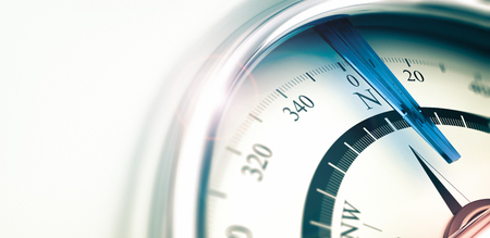 right choice: Compass with needle pointing the north, 3D illustration with depth of field effect, horizontal image.