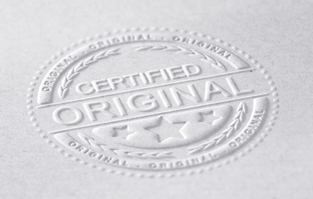 authenticity: 3D illustration of an embossed stamp with the text certified original, paper background, horizontal image. Concept of authenticity.