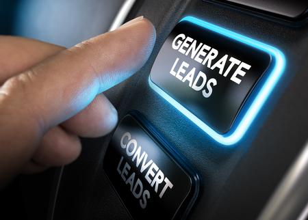 Hand ongeveer om op een knop te genereren leidt met blauw licht op zwarte achtergrond. Concept van lead management. Composite tussen fotografie en een 3D-achtergrond. horizontale beeld